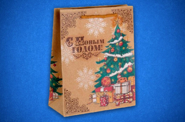 Пакет крафт с новым годом