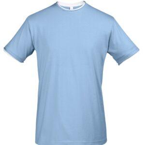 Футболка мужская с контрастной отделкой Madison 170, голубой/белый, размер XXL