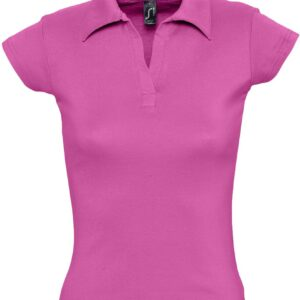 Рубашка поло женская без пуговиц Pretty 220 ярко-розовая, размер M